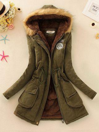 Plus Size Long Sleeves Drawstring Korean Hooded Lamb Cotton Padded Clothes Coat