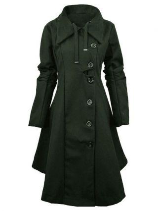 Plus Size Single-breasted Irregular Hem Double-sided Woolen Trench Coat Windbreaker for Women
