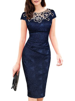 Plus Size Summer Lace Dress Short Sleeves Rose Midi Bodycon Pencil Work Dresses