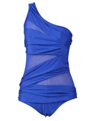 Plus Size Swimwear One Shoulder Mesh One Piece Swimsuit