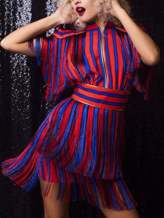 Red and Blue Striped Zip-Front Backless Mini Summer Tassels Dresses