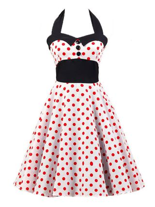 Red Big Polka Dot Printed Stitching Audrey Hepburn Vintage Halter Dress Sleeveless Cotton Party Swing Inspired Dress with Buttons