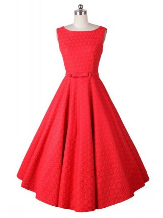 Red Hepburn Style Retro 50S Lace Crochet Printed Sleeveless Swing Rockabilly Dress