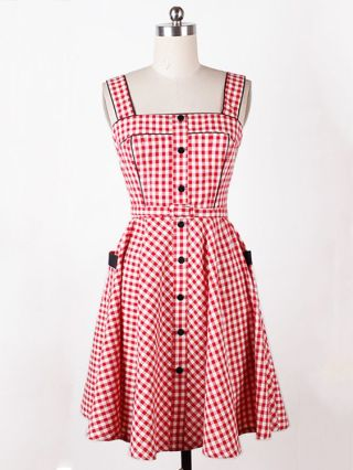 Red Plaid Audrey Hepburn Vintage Dress Sleeveless Cotton Rockabilly Swing Inspired Dress with Buttons