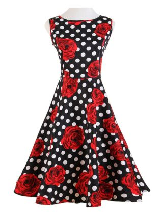 Red Rose Printed Polka Dot Audrey Hepburn Dress 50s Sleeveless Swing Insipred Vintage Dress