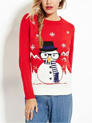 Red Snowflakes Snowman Embroidery Long Sleeves Christmas Sweater