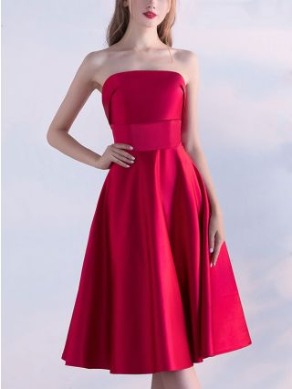 Red Strapless Homecoming Dress Bandeau Backless Wedding Prom Midi Party Satin Dresses