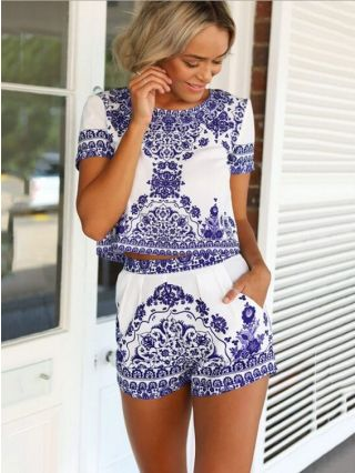 Retro Blue and White Porcelain Printed Two-Piece Tops Short