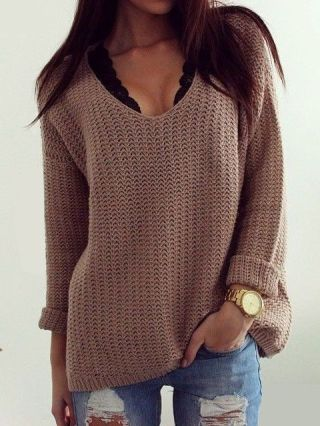 Retro Casual V-neck Long-sleeved Loose Knit Openwork Vintage Sweater for Women