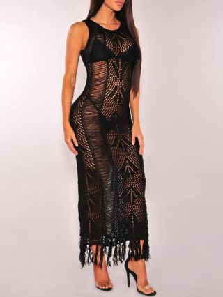 See-through Bikini Cover-ups Openwork Knitting Cotton Maxi Tassel Dress Beachwear