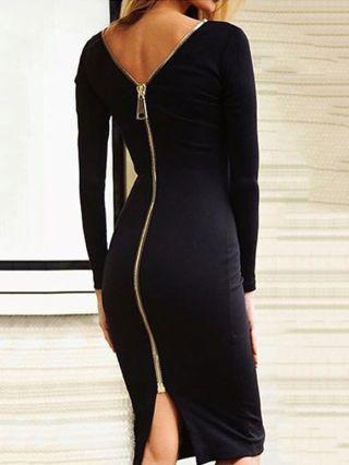 Sexy Back Zipper Long Sleeve Midi Bodycon Pencil Party Dress Open Back