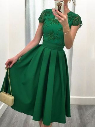 Sexy Backless Lace Embroidered Stitching Short Sleeves Midi Swing Gowns Evening Dress