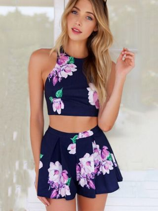 Sexy Blue Flower Printed Jumpsuit Apron-Style Two-Piece Short Sports Suits