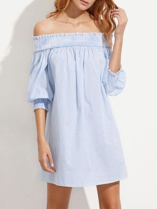 Sexy Blue Striped Off The Shoulder Half Sleeves Back Bow Mini Summer Dresses