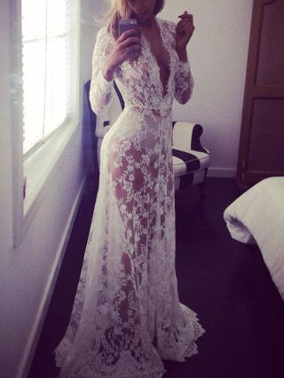 Sexy Deep V Neck Long Sleeve See-through Wedding Maxi Lace Dress Plus Size