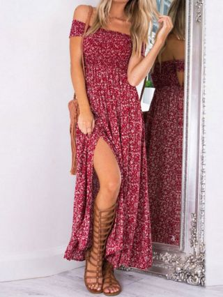 Sexy Floral Printed Off the Shoulder Split Maxi Backless Dress