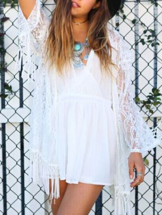 Sexy Fringed Dress White Lace Crochet Hollow Bat Long Sleeve Sunscreen Cover-up Smock