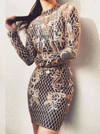 Sexy Gold Sequined Lace Backless Long Sleeves Short Bodycon Club Dress