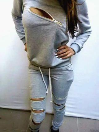 Sexy Gray Zipper Sweats Suits Sweatshirt Pants