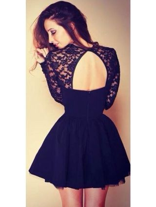 Sexy Lace Crochet Openwork Stitching Gauze Open Back Mini A-line Black Dress with Long Sleeve