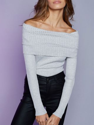 Sexy Long Sleeve Off The Shoulder Sweater