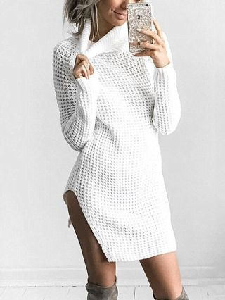 Sexy Long Sleeves High Neck Pullover Slit Sweater Dress