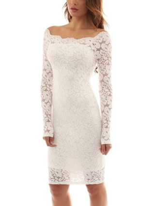 Sexy Long Sleeves Lace Overlay Off Shoulder Mini Bodycon Dress
