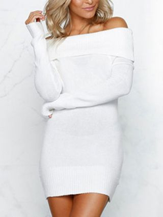 Sexy Off Shoulder Long Sleeve Mini Bodycon Pencil Sweater Dress