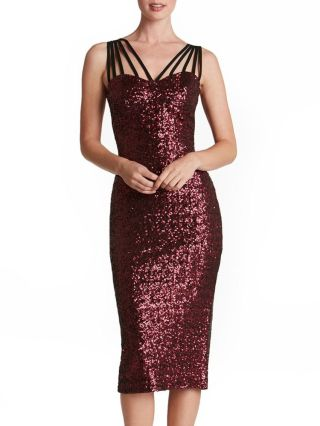 Sexy Sequined Slip Bodycon Pencil Backless Split Party Dress