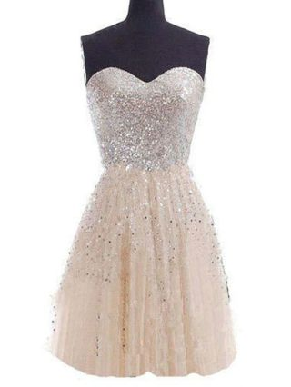 Sexy Short Homecoming Gowns Champagne Sequins Stitching Sleeveless Princess Mini Tube Dress