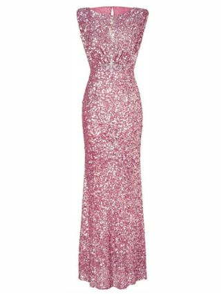 Sexy Sleeveless Bowknot Sequined Backless Pencil Bodycon Long Evening Gown Dress