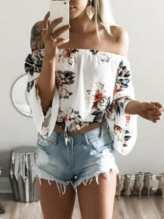 Sexy Summer Short White Tops Off The Shoulder Flowers Printed Three-quarter Sleeve T-shirt