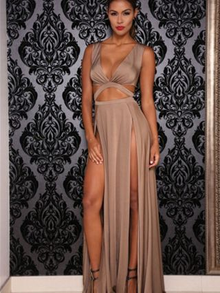 Sexy V-neck Bandage Summer Evening Maxi Slit Party Gown Dress