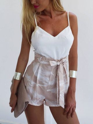 Sexy V-neck Belted Straps Rompers White Blouse Floral Printed Shorts Two-piece Rompers