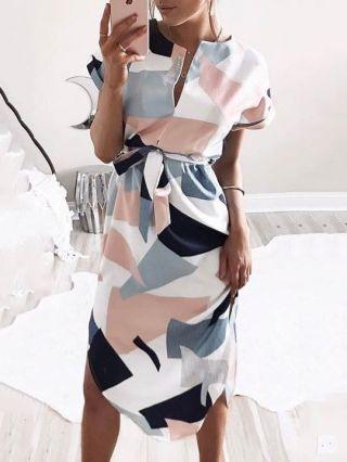 Sexy V-neck Color Block Printed Short Sleeve Midi Summer Dress