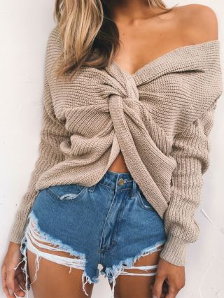 Sexy V-neck Criss-cross Backless Knitted Long Sleeves Sweater