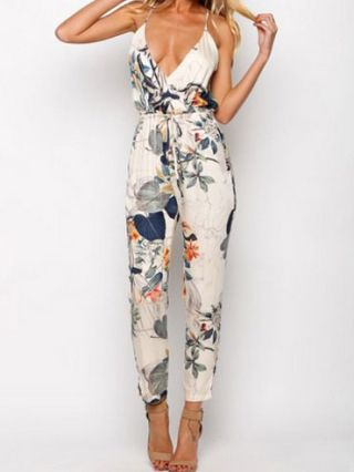Sexy V-neck Flowers Printed Straps Jumpsuit Siamese Pants Trousers