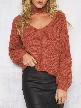 Sexy V-neck Long Sleeve Zipper Cotton Halter Knitted Sweater