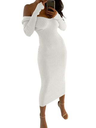 Sexy V-neck Long Sleeves Off Shoulder Maxi Pencil Sweater Dresses