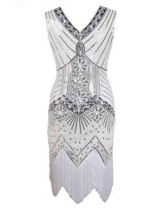 V Neck 1920s Gatsby Tassel Beaded & Sequined Flapper Dress