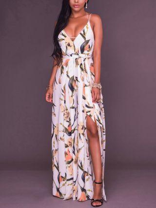 White Flowers Printed V-neck Backless Split Belted Wide Leg Jumpsuit Summer Maxi Dresses