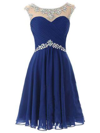 Short Bridesmaid Dress Mesh Diamond Backless Chiffon Homecoming Dress