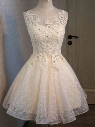 Short Graduation Dress Lace Beading Evening Bridesmaid Valentines Day Dress