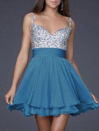 Short Homecoming Dress Fashion V-neck Sequined Prom Evening Dress