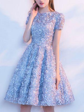 Short Homecoming Dress Lace Embroidery Bridesmaids Summer Evening Gown Graduation Dress