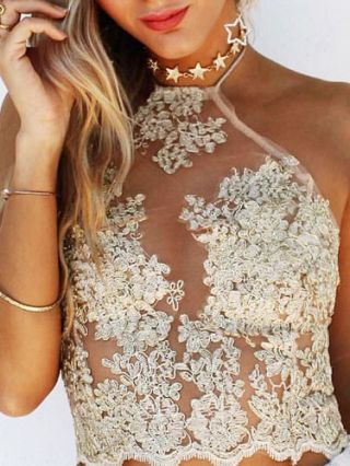 Short Lace Halter Camisole Sexy Mesh Embroidery Backless See-through Cropped Tops