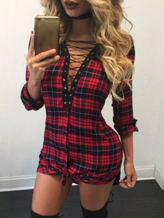 Short Single-breasted Lace-up Dress V-neck Lacy Long Sleeve Plaid Shirt Dress