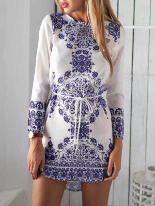 Short Vintage Dress Blue and White Pattern Printed Cotton Belted Dress