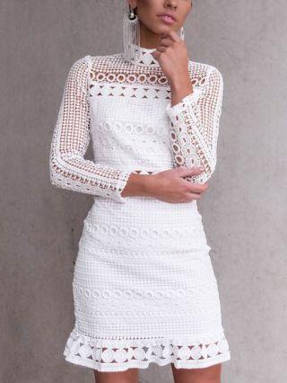 Short White Lace Dress Sweet High Neck Crochet Hollow Flounced Hem Long Sleeves Dresses