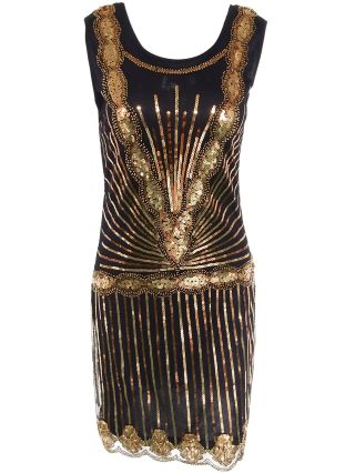 Sleeveless Vintage Sequins 1920s Flapper Gatsby Dress in Gold